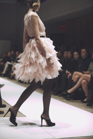 pale pink ruffle dress with black