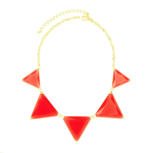 red triangle stone bib necklace